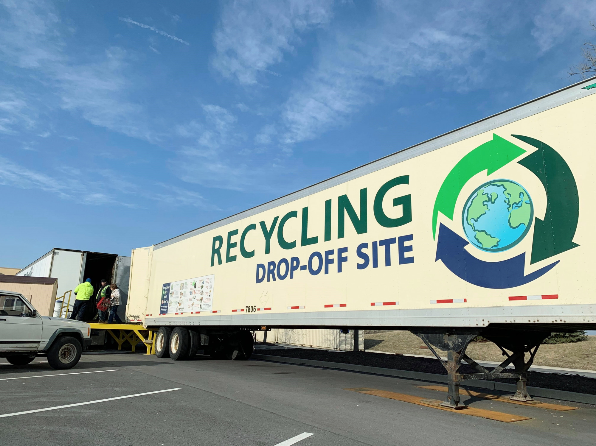 A trailer of Allen County Department of Environmental Management's Community Recycling Drop-off Site in Fort Wayne.